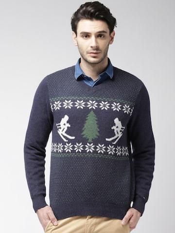 Tommy Hilfiger Men Navy Blue Self-Design Sweater Tommy Hilfiger Sweaters at myntra