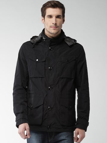 Tommy Hilfiger Men Black Solid Tailored Hooded Jacket Tommy Hilfiger Jackets at myntra