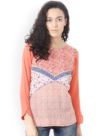 People Women Peach-Coloured Floral Print Top People Tops at myntra