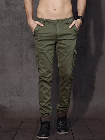 Roadster Men Olive Green Slim Fit Solid Cargos Roadster Trousers at myntra