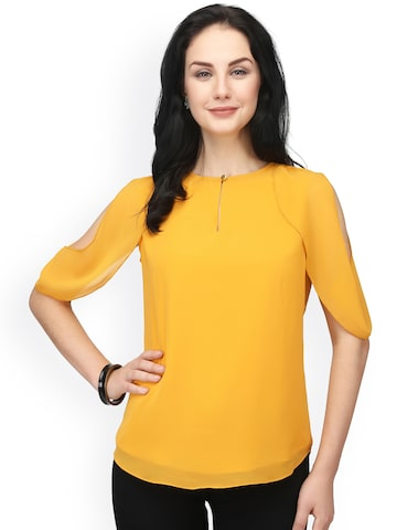 Eavan Women Mustard Yellow Solid Top Eavan Tops at myntra