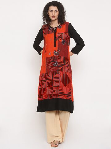 Global Desi Women Orange & Black Printed Straight Kurta Global Desi Kurtas at myntra