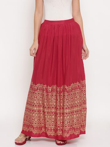 Global Desi Women Red Printed Maxi Skirt Global Desi Skirts at myntra