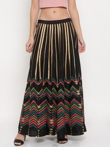Global Desi Women Black & Gold-Toned Striped Maxi Skirt Global Desi Skirts at myntra
