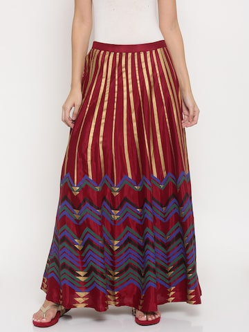 Global Desi Women Maroon & Gold-Toned Striped Maxi Skirt Global Desi Skirts at myntra