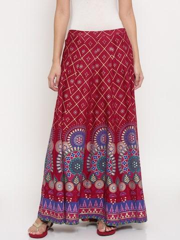 Global Desi Women Red & Blue Printed Maxi Skirt Global Desi Skirts at myntra
