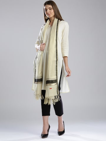 W Cream-Coloured Dupatta at myntra