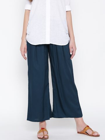 W Women Navy Blue Solid Parallel Trousers W Trousers at myntra