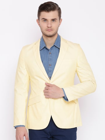 Raymond Beige Slim Fit Self-Design Single-Breasted Blazer Raymond Blazers at myntra