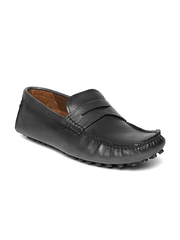 Steve Madden Men Black Leather Driving Shoes Steve Madden Casual Shoes at myntra
