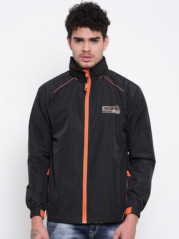 Sports52 wear Men Black Comfort Fit Hooded Rain Jacket Sports52 wear Rain Jacket at myntra