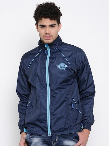Sports52 wear Navy Blue Printed Hooded Rain Jacket Sports52 wear Rain Jacket at myntra