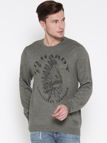 Ed Hardy Men Grey Melange Printed Sweater Ed Hardy Sweaters at myntra