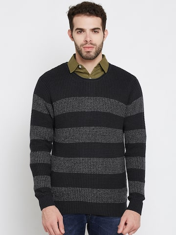 Ed Hardy Men Navy Striped Pullover Ed Hardy Sweaters at myntra