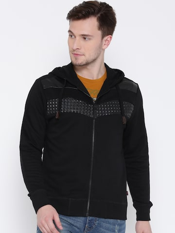 Ed Hardy Men Black Solid Hooded Sweatshirt Ed Hardy Sweatshirts at myntra