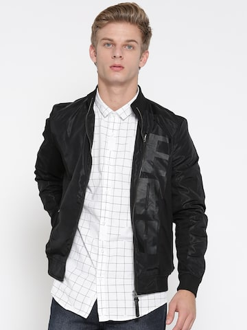 Ed Hardy Men Black Printed Bomber Ed Hardy Jackets at myntra