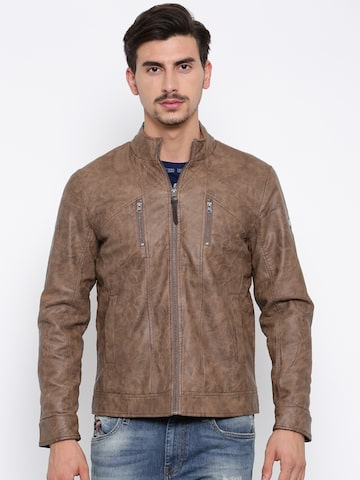 Ed Hardy Men Brown Solid Biker Jacket Ed Hardy Jackets at myntra