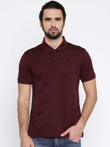 Arrow Sport Men Burgundy Solid Polo Collar T-shirt Arrow Sport Tshirts at myntra
