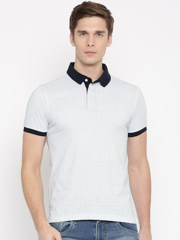 Arrow Sport Men White Printed Polo Collar T-shirt Arrow Sport Tshirts at myntra