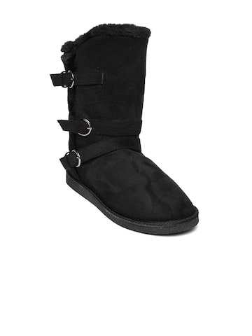 Carlton London Women Black Solid Suede High-Top Flat Boots Carlton London Casual Shoes at myntra