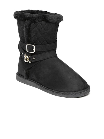 Carlton London Women Black Flat Boots Carlton London Casual Shoes at myntra