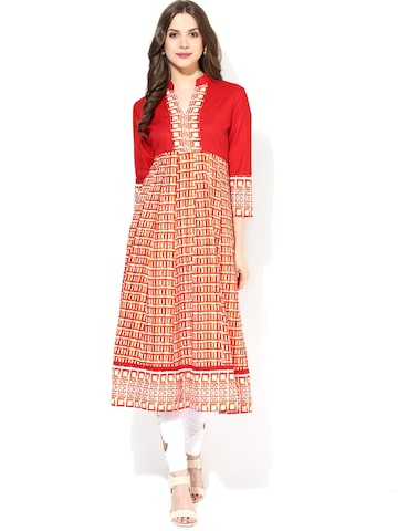 AKS Red Printed Anarkali Kurta AKS Kurtas at myntra