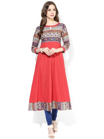 AKS Red Printed Anarkali Kurta at myntra