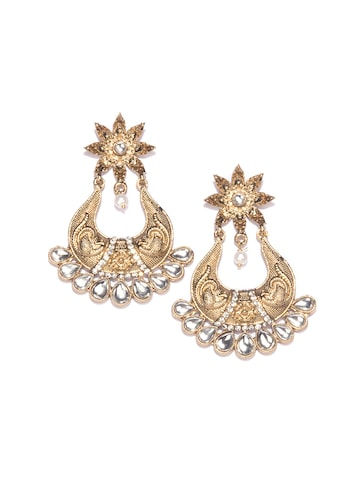 Fida Gold-Toned Crescent Shaped Chandbalis Fida Earrings at myntra