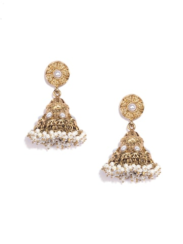Fida Gold-Toned Dome Shaped Jhumkas Fida Earrings at myntra