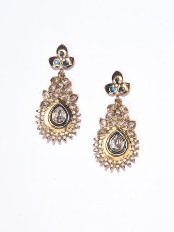 Fida Gold-Toned & Navy Blue Teardrop Shaped Drop Earrings Fida Earrings at myntra