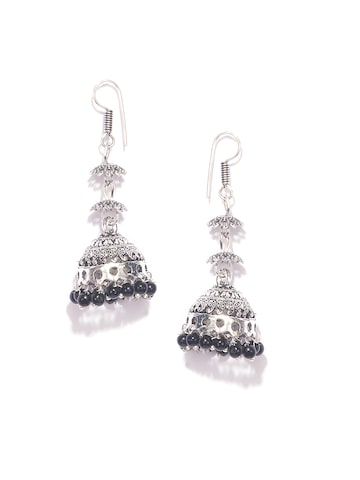 Fida Silver-Toned Dome-Shaped Jhumkas Fida Earrings at myntra