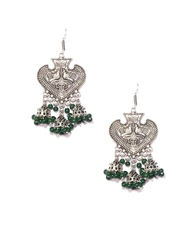 Fida Green Dome Shaped Jhumkas Fida Earrings at myntra
