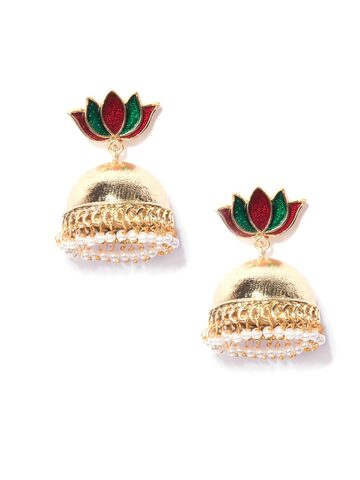 Fida Gold-Toned & Red Floral Jhumkas Fida Earrings at myntra