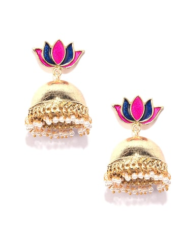 Fida Gold-Toned & Pink Floral Jhumkas Fida Earrings at myntra