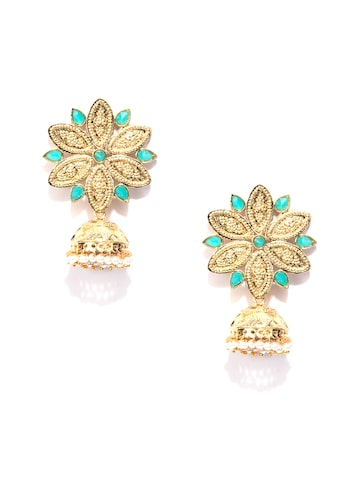 Fida Gold-Toned Floral Drop Earrings Fida Earrings at myntra