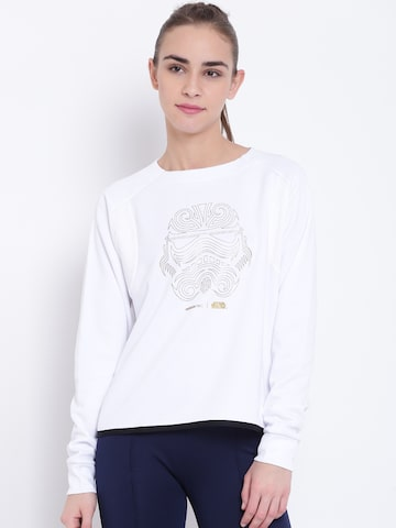 Adidas NEO Women White SW Printed Sweatshirt Adidas NEO Sweatshirts at myntra