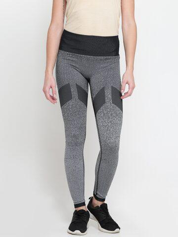 Adidas Grey SMLSS LN Patterned Tights Adidas Tights at myntra