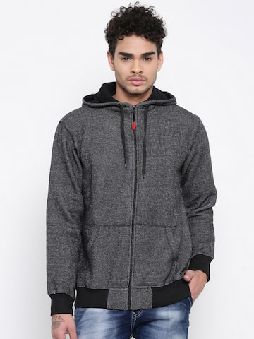 Sports52 wear Men Black Self Design Hooded Sweatshirt Sports52 wear Sweatshirts at myntra