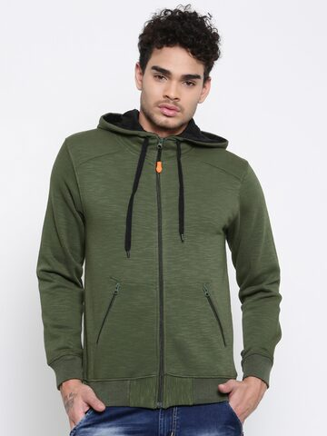 Sports52 wear Men Olive Green Solid Hooded Sweatshirt Sports52 wear Sweatshirts at myntra