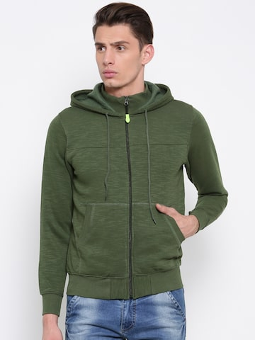 Sports52 wear Men Green Solid Hooded Sweatshirt Sports52 wear Sweatshirts at myntra