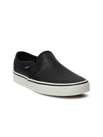 Vans Women Black Asher Leather Slip-On Sneakers with Cut-Outs Vans Casual Shoes at myntra