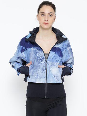 Stella Mc Cartney by Adidas Women Blue Run Trail Printed Sporty Jacket Adidas Jackets at myntra