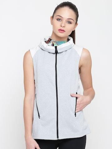 Adidas Women Grey Solid Tailored Jacket Adidas Jackets at myntra