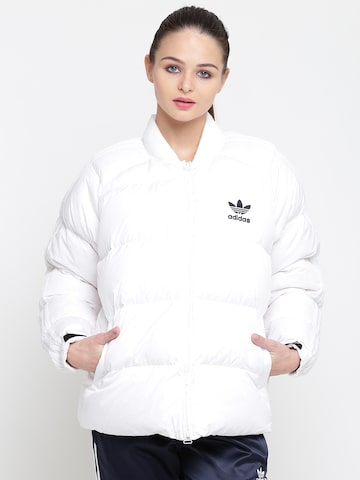 Adidas Originals Women White SST DOWN Solid Puffer Jacket Adidas Originals Jackets at myntra