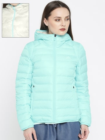 Adidas Women Turquoise Blue & White Printed NUVIC Reversible Puffer Jacket Adidas Jackets at myntra