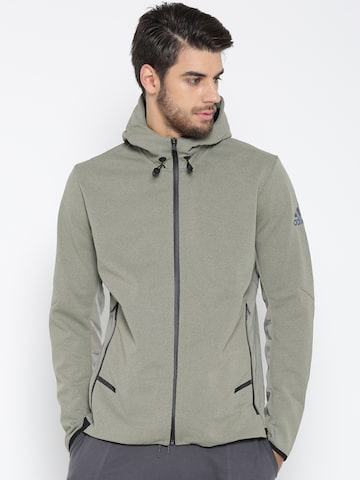 Adidas Men Olive Green Workout FZ Heat Solid Sporty Jacket Adidas Jackets at myntra