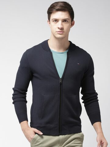 Tommy Hilfiger Men Navy Blue Solid Cardigan Tommy Hilfiger Sweaters at myntra