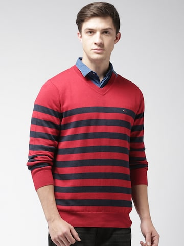 Tommy Hilfiger Men Red & Navy Blue Striped Pullover Tommy Hilfiger Sweaters at myntra