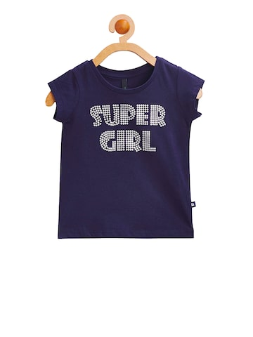 United Colors of Benetton Girls Navy Blue Printed Round Neck T-shirt United Colors of Benetton Tshirts at myntra
