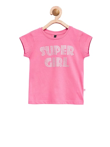 United Colors of Benetton Girls Pink Printed Round Neck T-shirt United Colors of Benetton Tshirts at myntra